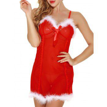 Sheer Mesh Santa Lingerie Babydoll with Feathers - RED RED