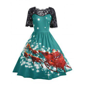 Plus Size Lace Panel Father Christmas Midi Party Dress - GREEN GREEN