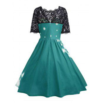 Plus Size Lace Panel Father Christmas Midi Party Dress - GREEN 3XL