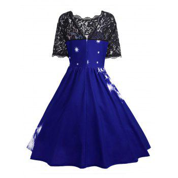 Plus Size Lace Panel Father Christmas Midi Party Dress - ROYAL 4XL