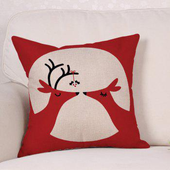Christmas Deers Print Sofa Linen Pillowcase - RED W18 INCH * L18 INCH
