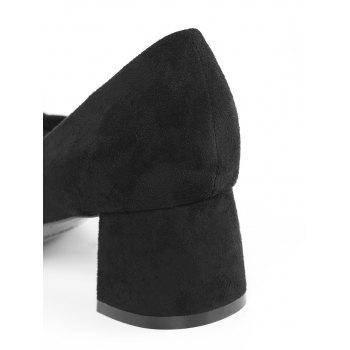 Pointed Toe Bandage Chunky Heel Pumps - BLACK 40