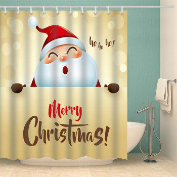 Santa Claus Merry Christmas Printed Waterproof Shower Curtain - YELLOW W59 INCH * L71 INCH