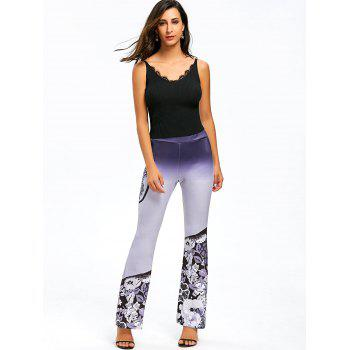 Floral Print High Waist Ombre Pants - COLORMIX M