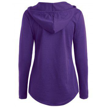 Drawstring Kangaroo Pocket Hoodie with Thumb Hole - PURPLE XL