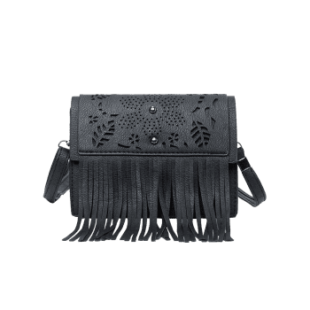 Fringe Hollow Out Rivets Crossbody Bag - BLACK HORIZONTAL