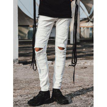 Zipper Fly Stretch Distressed Jeans - WHITE 30
