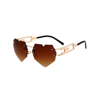 Outdoor Love Heart Decorated Hollow Frame Rimless Sunglasses - TEA COLORED