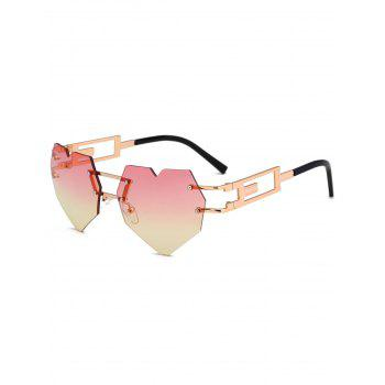 Outdoor Love Heart Decorated Hollow Frame Rimless Sunglasses - YELLOW AND RED YELLOW/RED
