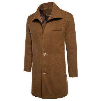 Manteau Simple en Laine à Boutonnage Simple - Camel XL