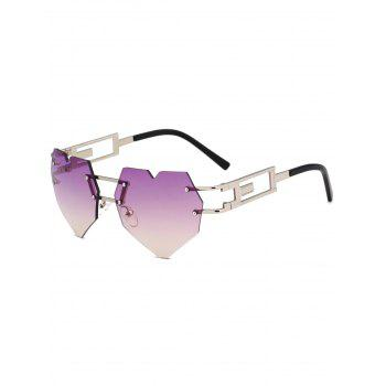 Outdoor Love Heart Decorated Hollow Frame Rimless Sunglasses - PURPLE PURPLE