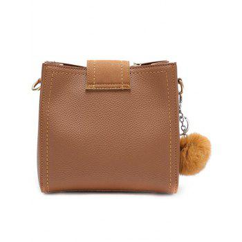Buckle Strap Stitching Pompom Crossbody Bag - BROWN