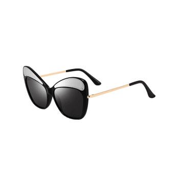 Outdoor Full Frame Kitten Eye Sunglasses - BLACK/GREY