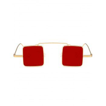 UV Protection Full Frame Squared Sunglasses -  GOLD FRAME / RED LENS