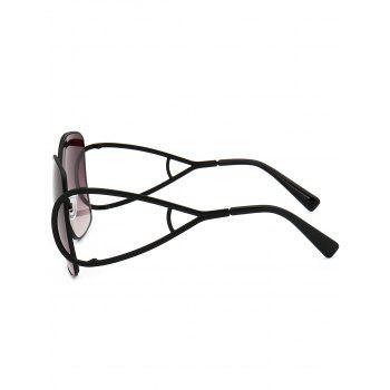 Vintage Hollow Out Decorated Full Frame Oversized Sunglasses -  BLACK/GREY