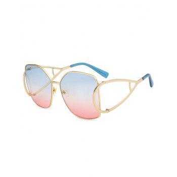 Vintage Hollow Out Decorated Full Frame Oversized Sunglasses - AZURE AZURE