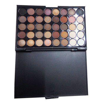 40 Colors Eyeshadow Palette with 6 Pcs Eye Makeup Brushes Set - BROWN