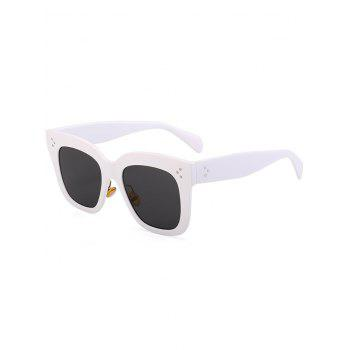 Outdoor Anti UV Full Frame Square Sunglasses - WHITE FRAME+GREY LENS WHITE FRAME/GREY LENS