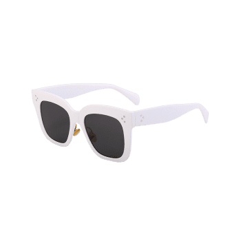 Outdoor Anti UV Full Frame Square Sunglasses -  WHITE FRAME/GREY LENS