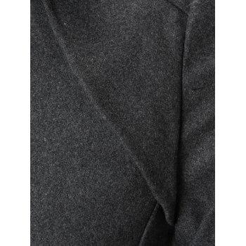 Flap Pocket Double-Breasted Warm Peacoat - GRAY 3XL