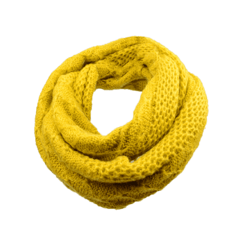 Soft Rhombus Pattern Crochet Knitted Scarf - YELLOW