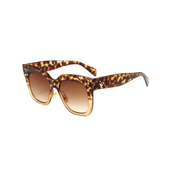 Outdoor Anti UV Full Frame Square Sunglasses - LEOPARD/ DOUBLE DARK BROWN