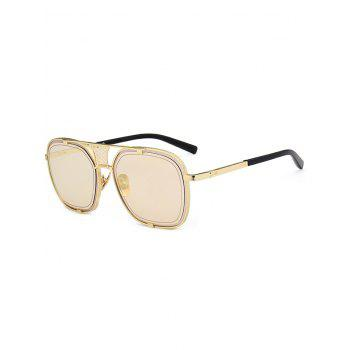 Vintage Metal Frame Hollow Out Decorated Polit Sunglasses - CHAMPAGNE GOLD CHAMPAGNE GOLD
