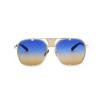 Vintage Metal Frame Hollow Out Decorated Polit Sunglasses - BLUE/YELLOW