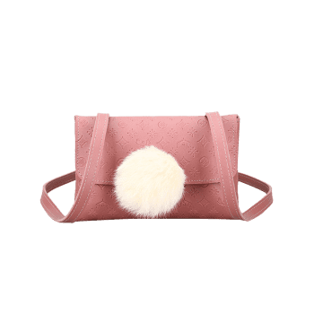 Embossing Pompom Crossbody Bag - PINK