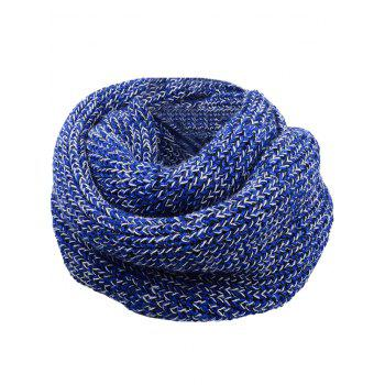 Vintage Color Splice Crochet Knitted Warm Scarf - BLUE AND WHITE BLUE/WHITE
