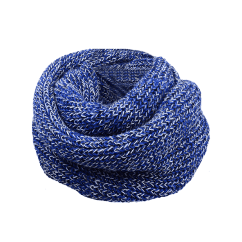 Vintage Color Splice Crochet Knitted Warm Scarf -  BLUE/WHITE