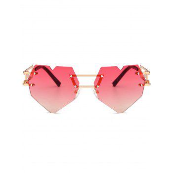 Outdoor Love Heart Decorated Hollow Frame Rimless Sunglasses - RED RED