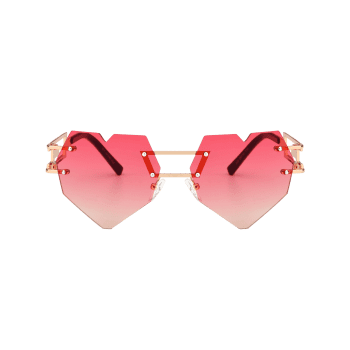 Outdoor Love Heart Decorated Hollow Frame Rimless Sunglasses - RED