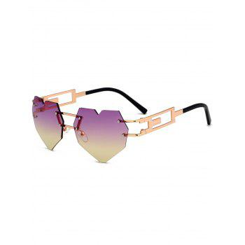 Outdoor Love Heart Decorated Hollow Frame Rimless Sunglasses - PURPLE+YELLOW C6 PURPLE/YELLOW C