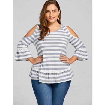 Plus Size Cold Shoulder Striped Top - STRIPE 2XL