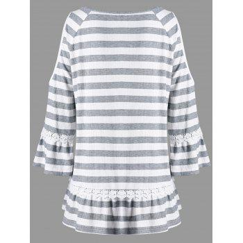Plus Size Cold Shoulder Striped Top - STRIPE 3XL