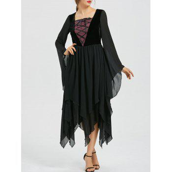 Lace-up Flare Sleeve Chiffon Asymmetric Dress