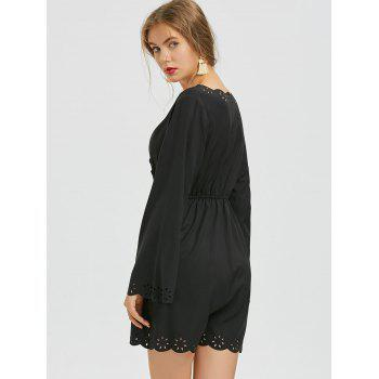 Crochet Panel V Neck Romper - BLACK M