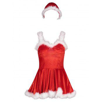 Velvet Christmas Feather Trim Costume Dress - RED RED