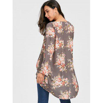 Open Front Floral Chiffon Cardigan - GRAY M