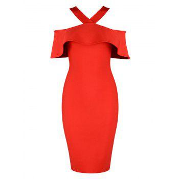 Ruffle Halter Knee Length Bandage Dress - RED L