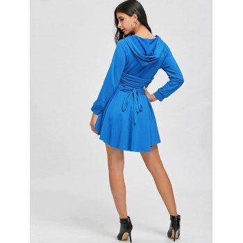 High Low Back Lace Up Hooded Dress - WINDSOR BLUE S