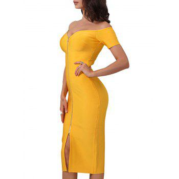 Front Zip Up Off Shoulder Bandage Dress - YELLOW YELLOW