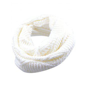 Outdoor Thick Ribbed Knit Winter Scarf - WHITE WHITE