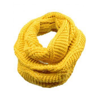 Outdoor Thick Ribbed Knit Winter Scarf - YELLOW YELLOW