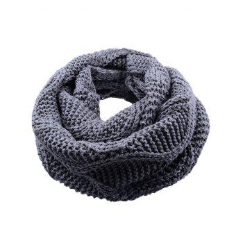 Outdoor Thick Ribbed Knit Winter Scarf - GRAY