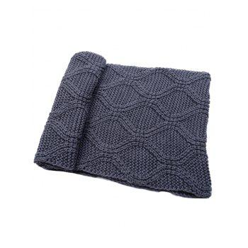 Outdoor Thick Ribbed Knit Winter Scarf - GRAY GRAY