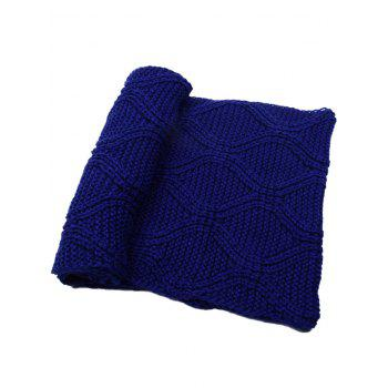 Outdoor Thick Ribbed Knit Winter Scarf - ROYAL
