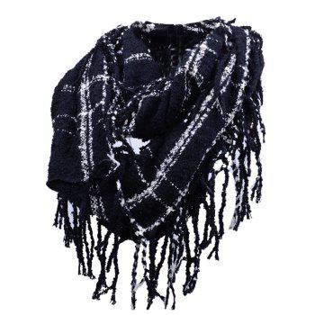 Soft Fringed Edge Embellished Artificial Cashmere Scarf - BLACK BLACK