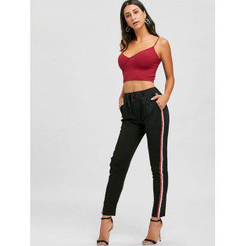 Drawstring High Waist Striped Ninth Pants - BLACK L